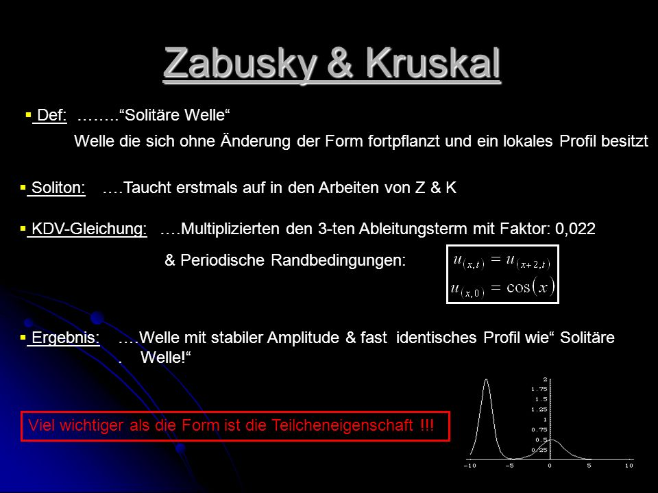 Zabusky & Kruskal Def: …….. Solitäre Welle