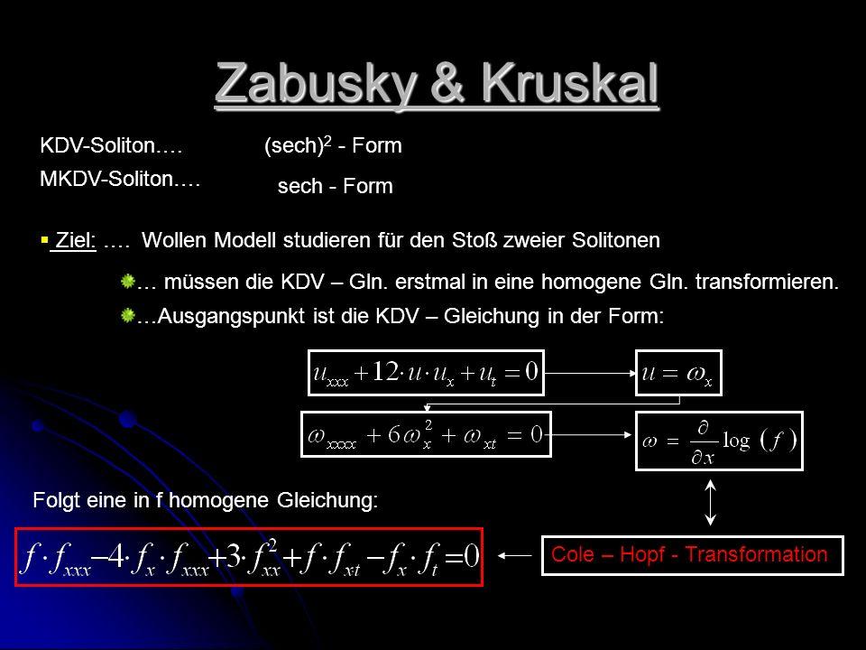 Zabusky & Kruskal KDV-Soliton…. (sech)2 - Form MKDV-Soliton….