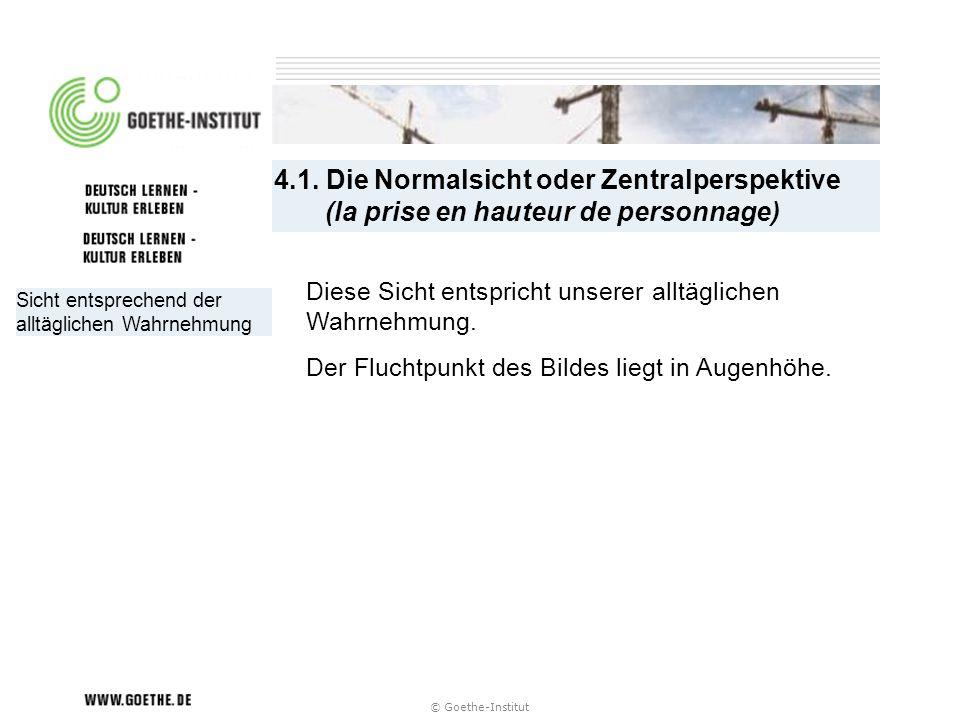 4.1. Die Normalsicht oder Zentralperspektive (la prise en hauteur de personnage)