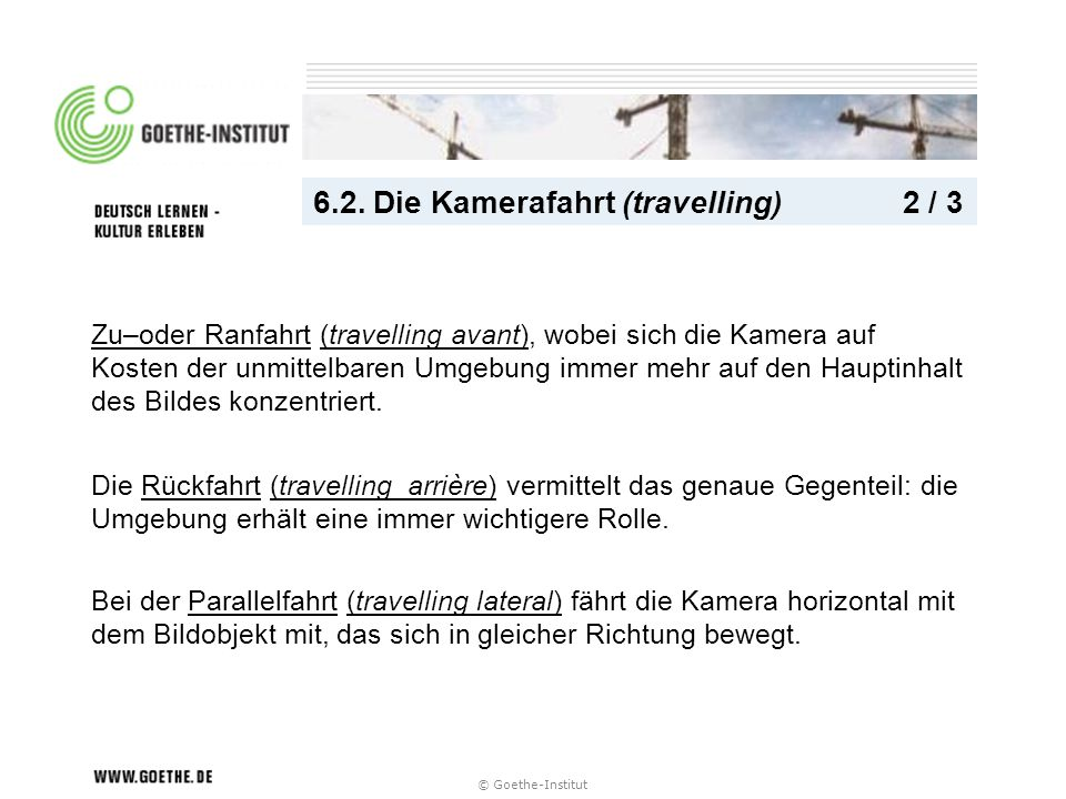 6.2. Die Kamerafahrt (travelling) 2 / 3