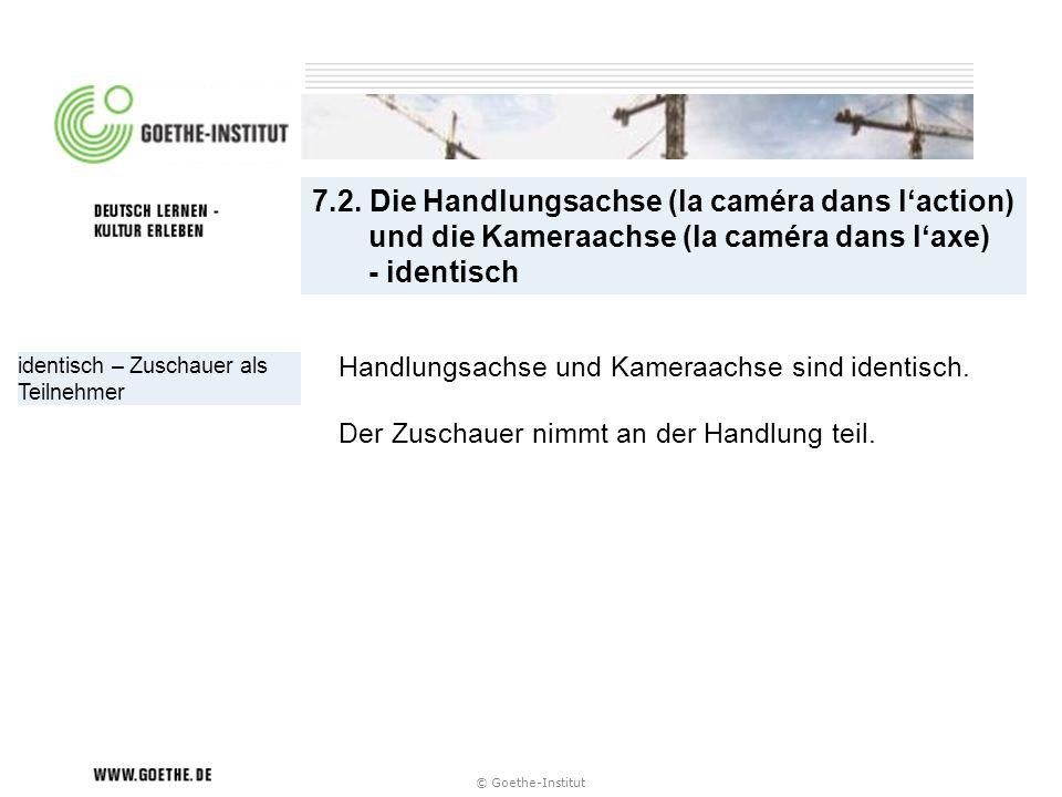 7.2. Die Handlungsachse (la caméra dans l'action) und die Kameraachse (la caméra dans l'axe) - identisch