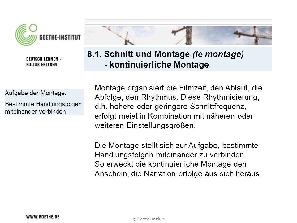 8.1. Schnitt und Montage (le montage) - kontinuierliche Montage