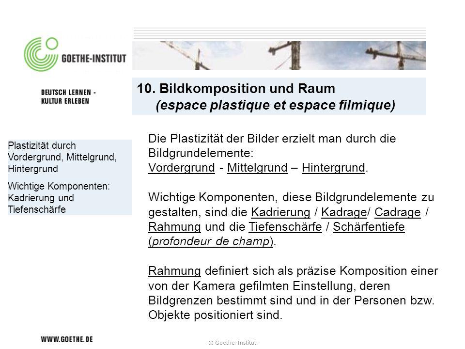 10. Bildkomposition und Raum (espace plastique et espace filmique)