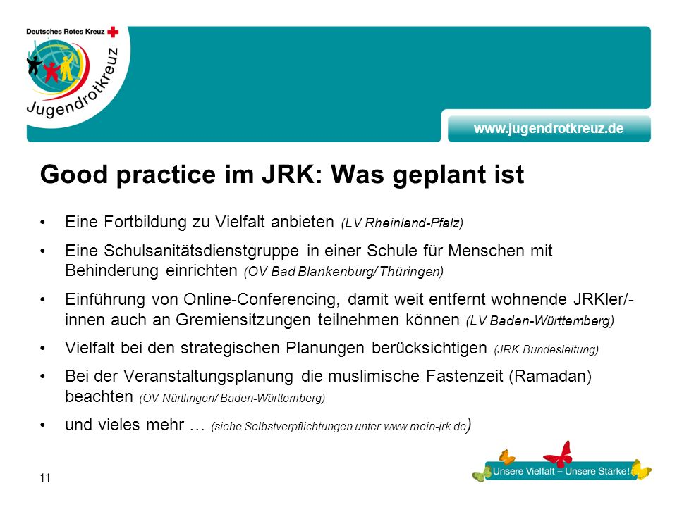 Good practice im JRK: Was geplant ist