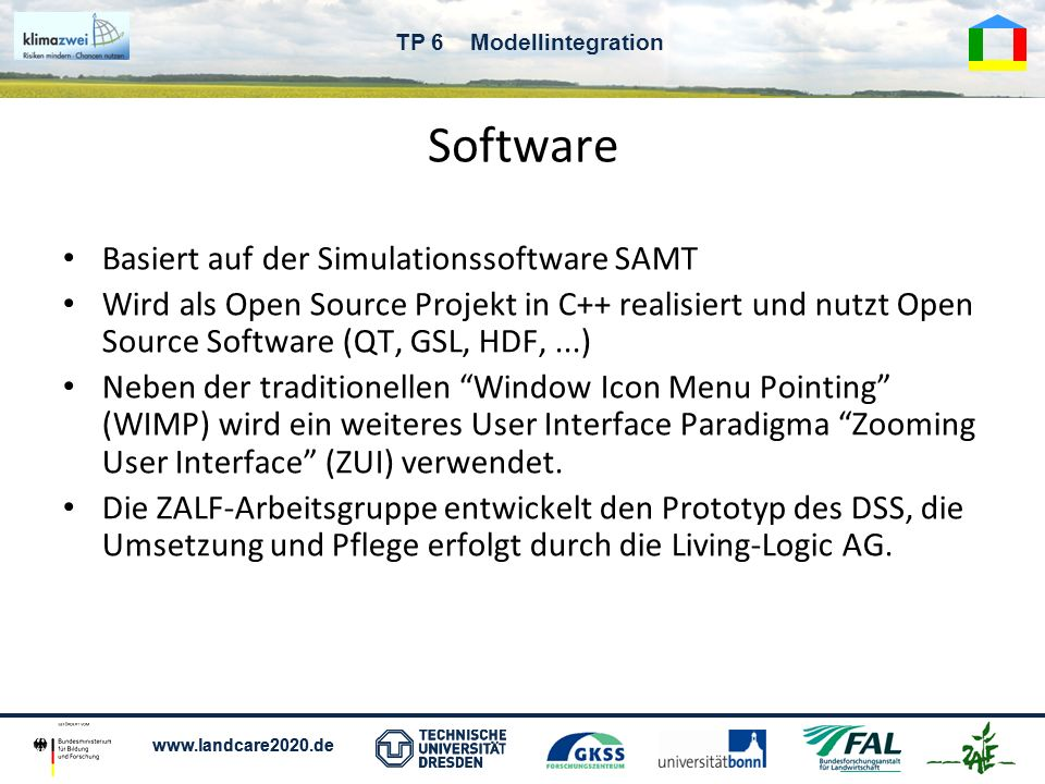 Software Basiert auf der Simulationssoftware SAMT