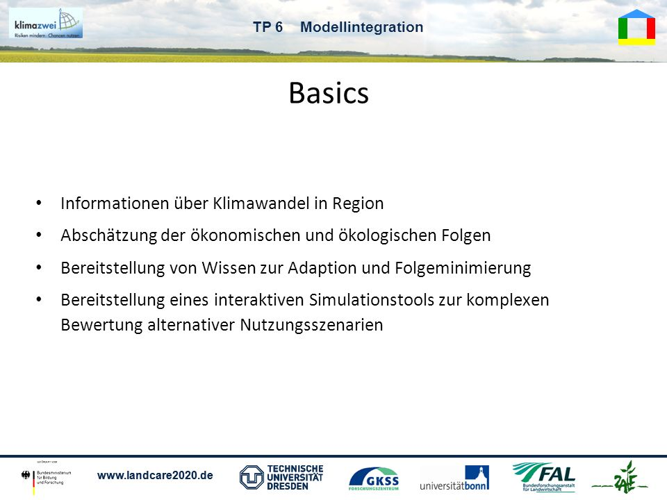 Basics Informationen über Klimawandel in Region