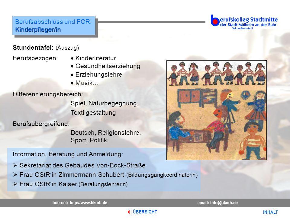 Berufsabschluss und FOR: Kinderpfleger/in