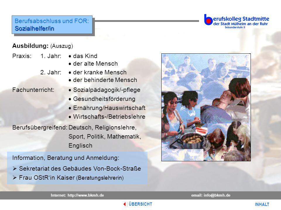 Berufsabschluss und FOR: Sozialhelfer/in