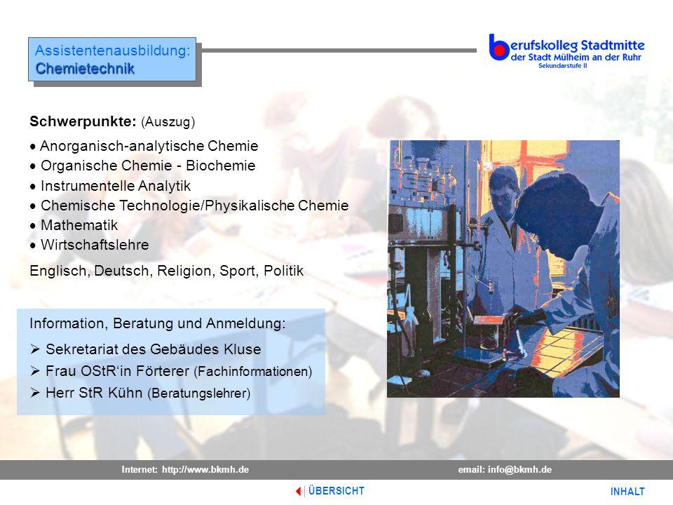 Assistentenausbildung: Chemietechnik