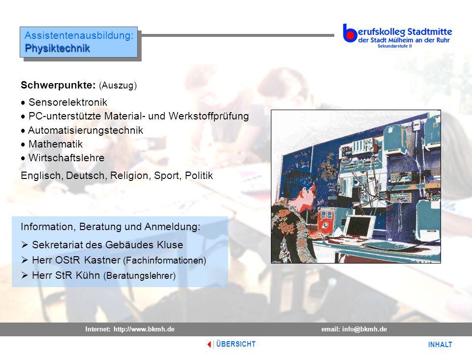 Assistentenausbildung: Physiktechnik