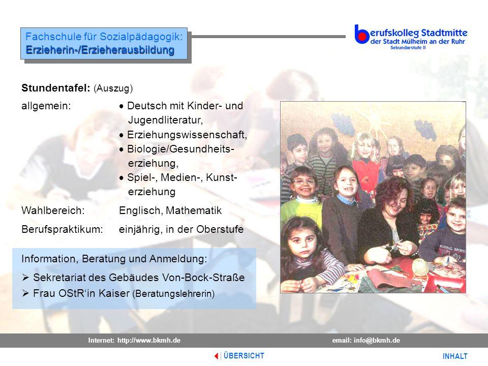 Fachschule für Sozialpädagogik: Erzieherin-/Erzieherausbildung