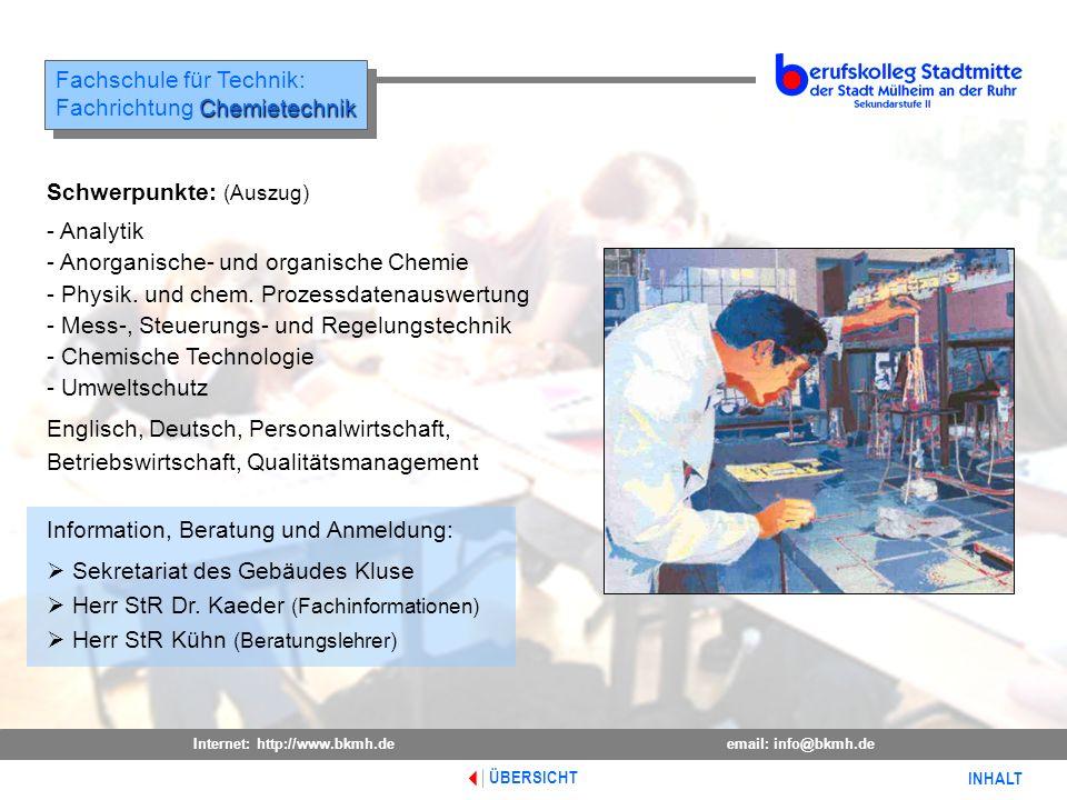 Fachschule für Technik: Fachrichtung Chemietechnik