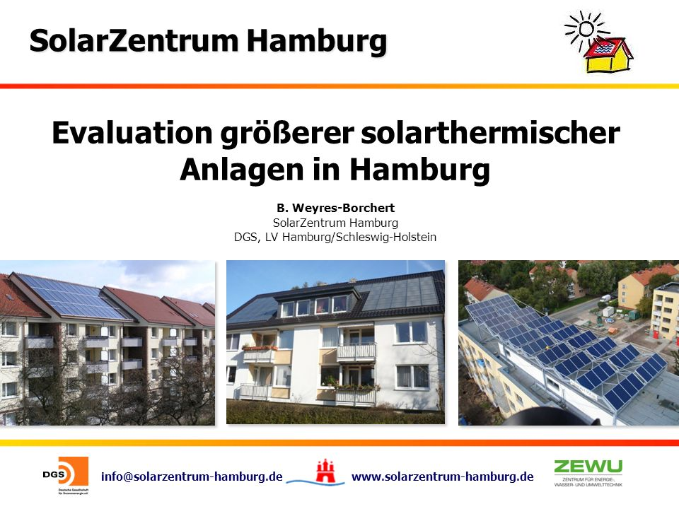 Evaluation größerer solarthermischer Anlagen in Hamburg B