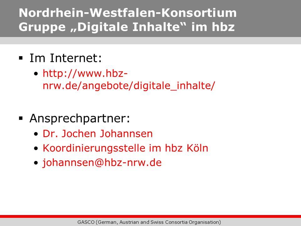 """Nordrhein-Westfalen-Konsortium Gruppe """"Digitale Inhalte im hbz"""