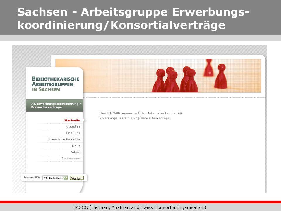 Sachsen - Arbeitsgruppe Erwerbungs- koordinierung/Konsortialverträge