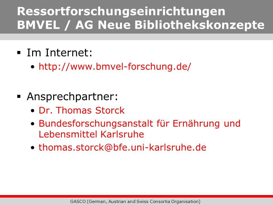 Ressortforschungseinrichtungen BMVEL / AG Neue Bibliothekskonzepte