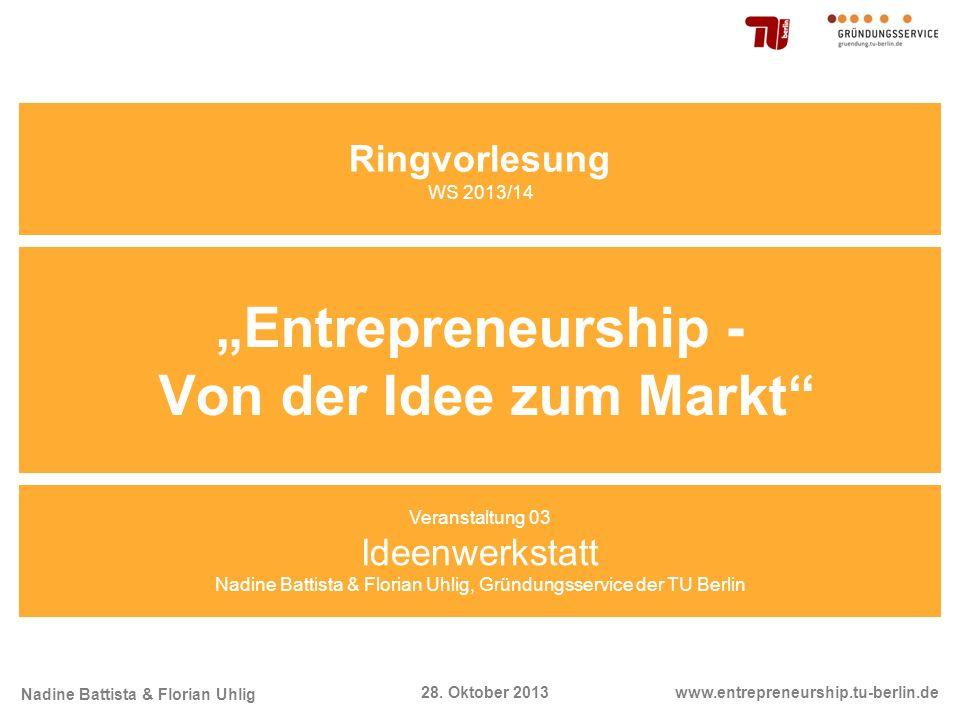 """""""Entrepreneurship - Von der Idee zum Markt"""