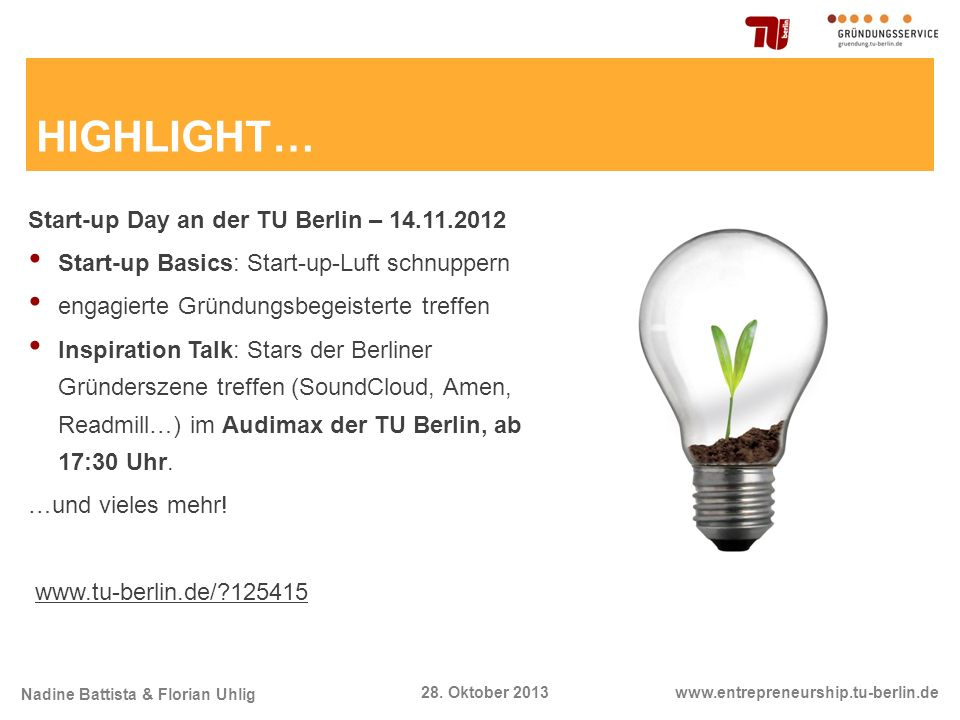 HIGHLIGHT… Start-up Day an der TU Berlin – 14.11.2012