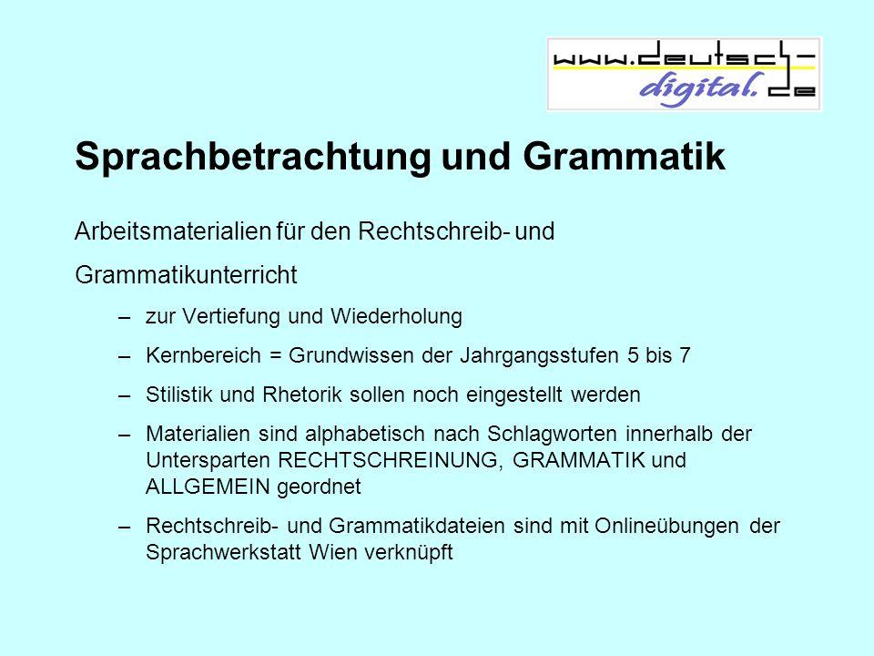 Sprachbetrachtung und Grammatik