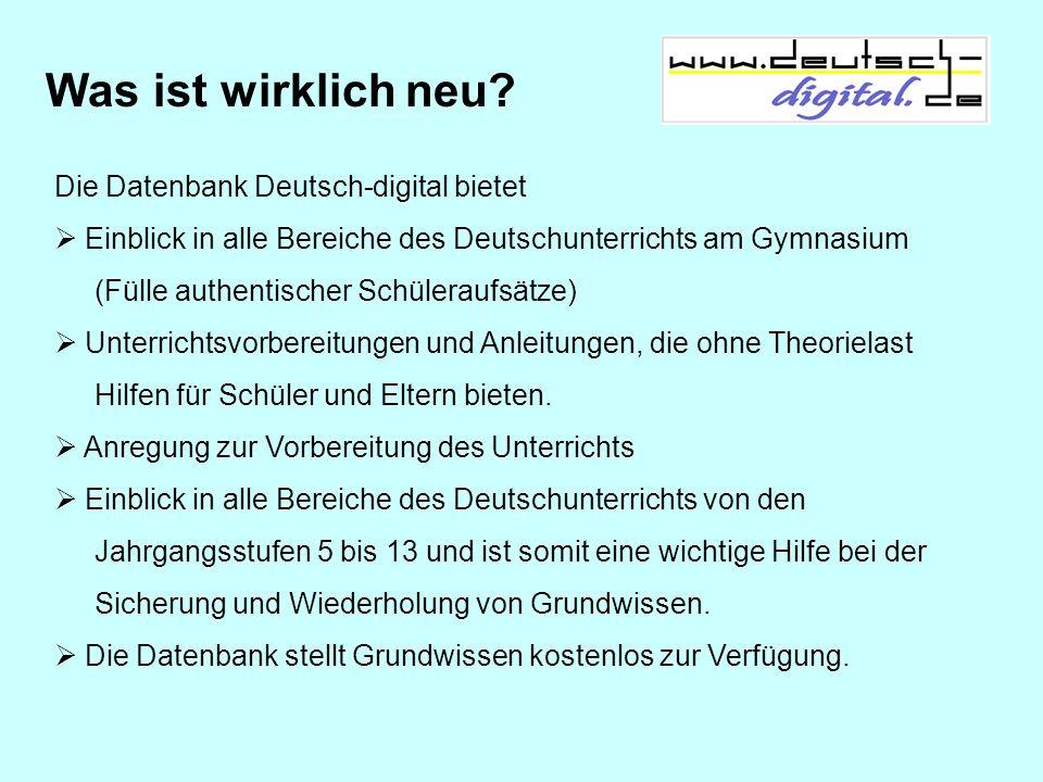 Was ist wirklich neu Die Datenbank Deutsch-digital bietet