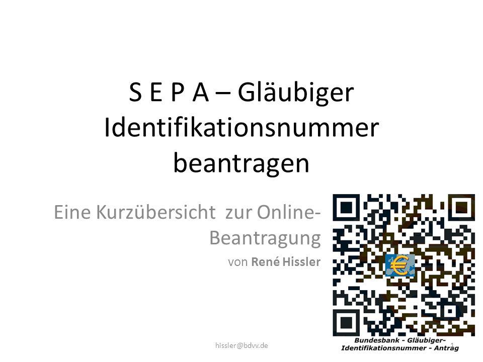 S E P A – Gläubiger Identifikationsnummer beantragen