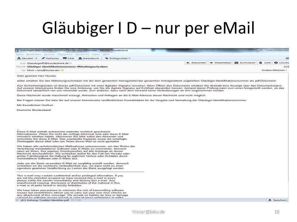 Gläubiger I D – nur per eMail