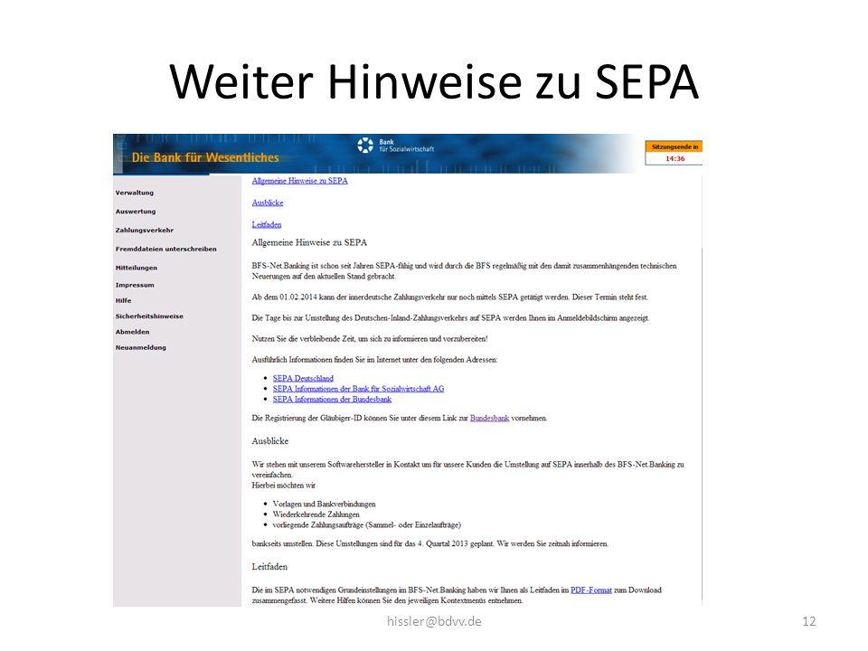 Weiter Hinweise zu SEPA