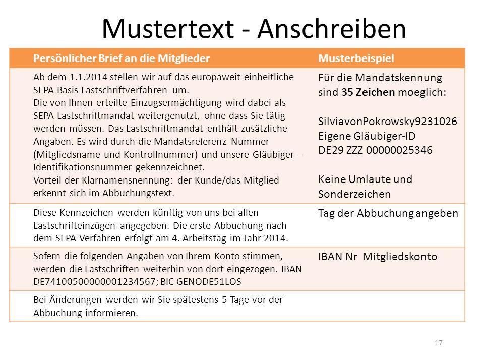 Mustertext - Anschreiben