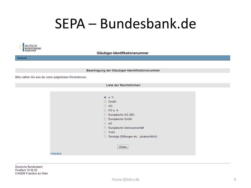 SEPA – Bundesbank.de hissler@bdvv.de