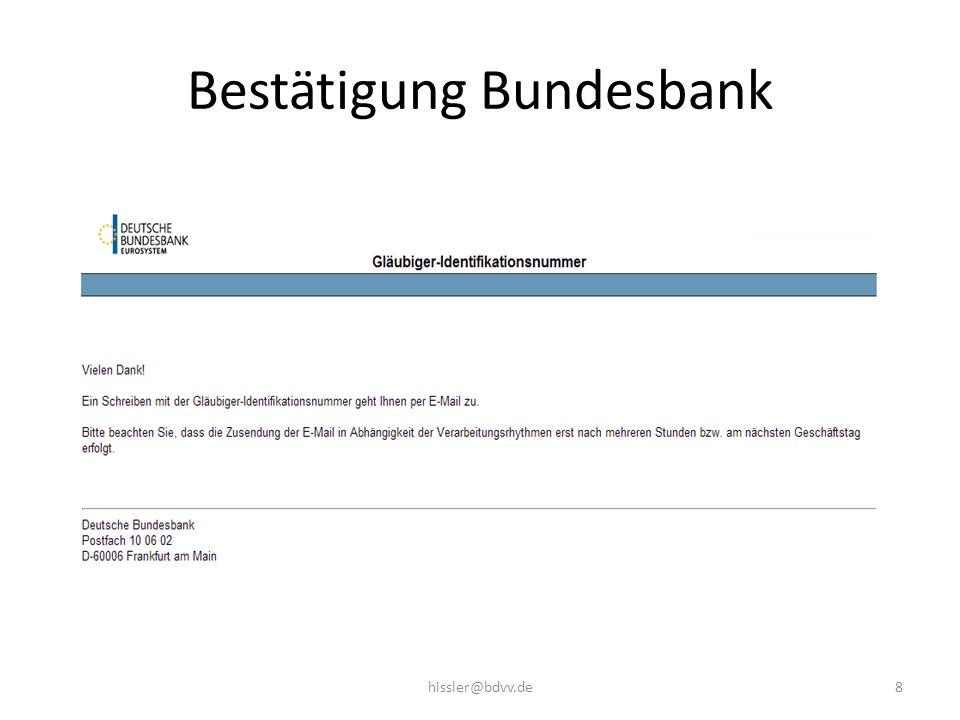 Bestätigung Bundesbank