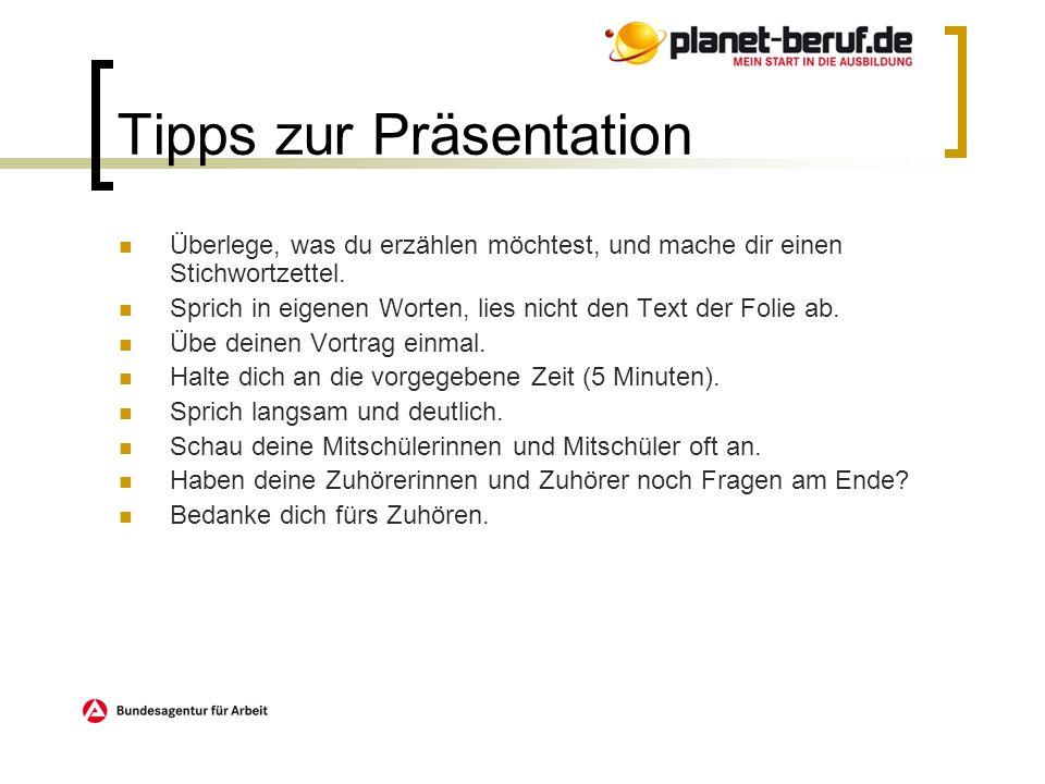 Tipps zur Präsentation
