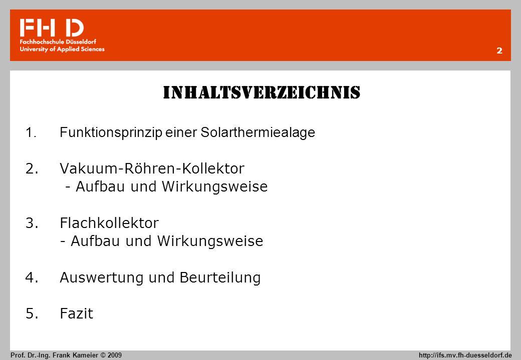 Inhaltsverzeichnis 1. Funktionsprinzip einer Solarthermiealage