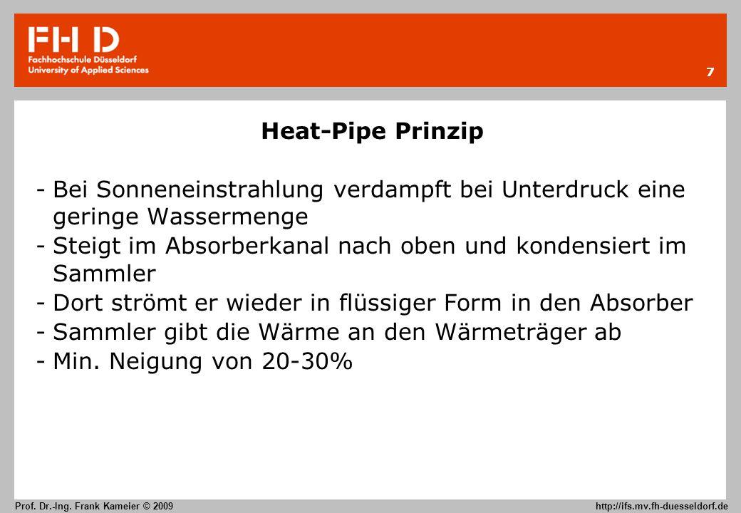 Heat-Pipe Prinzip Bei Sonneneinstrahlung verdampft bei Unterdruck eine geringe Wassermenge.