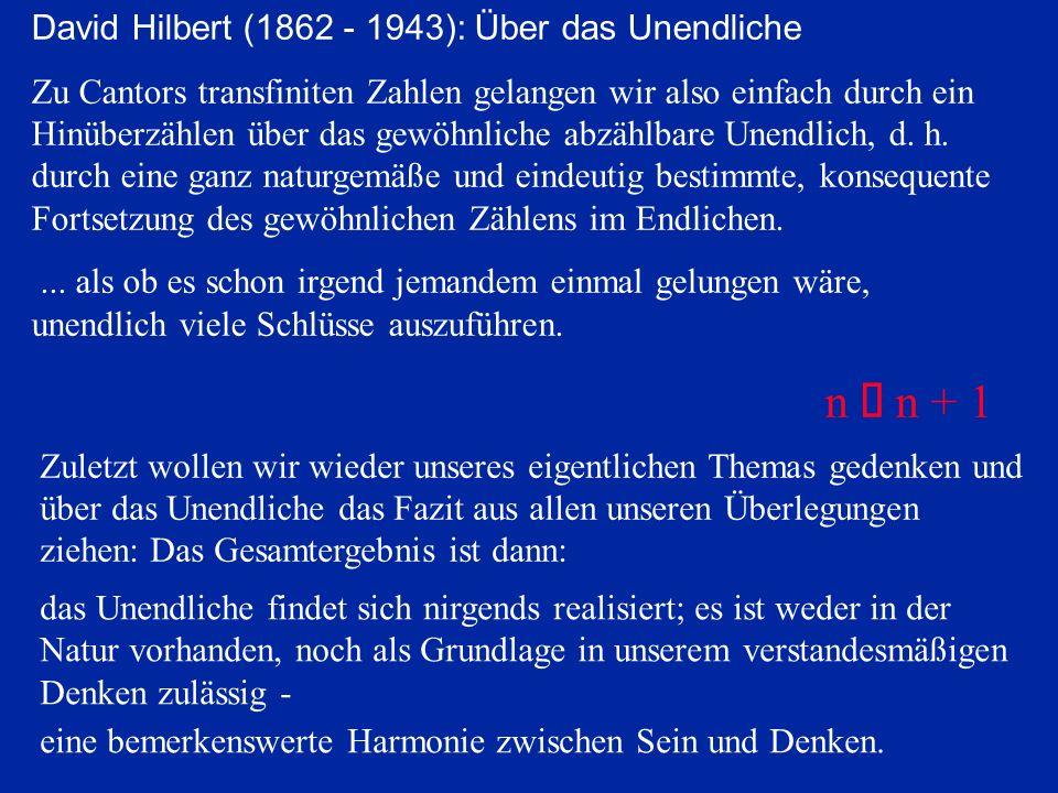 David Hilbert (1862 - 1943): Über das Unendliche