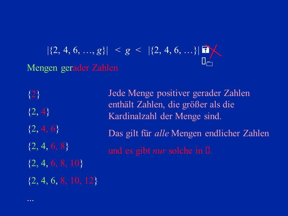 |{2, 4, 6, …, g}| < g. < |{2, 4, 6, …}| = À0. Mengen gerader Zahlen. {2} {2, 4} {2, 4, 6} {2, 4, 6, 8}