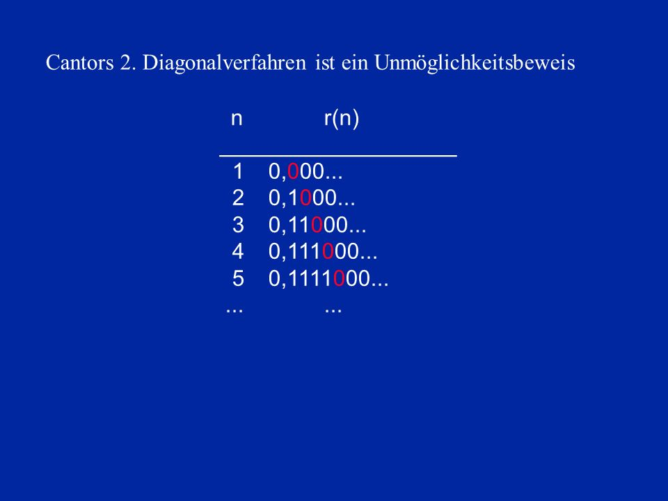 Cantors 2. Diagonalverfahren ist ein Unmöglichkeitsbeweis