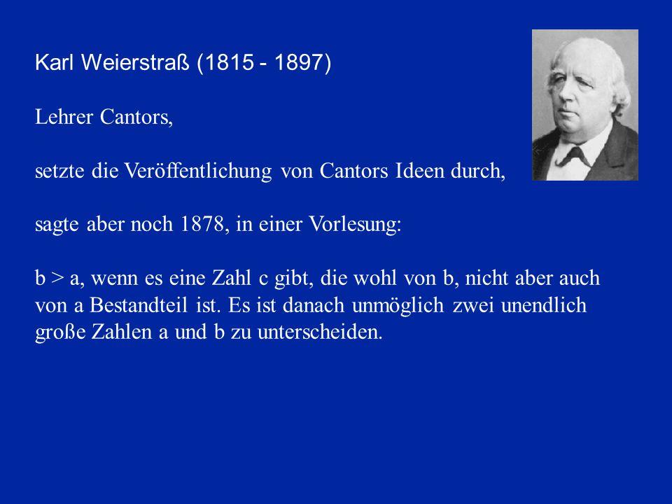 Karl Weierstraß (1815 - 1897) Lehrer Cantors, setzte die Veröffentlichung von Cantors Ideen durch,