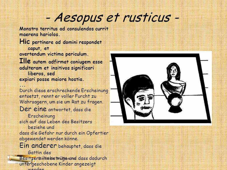 - Aesopus et rusticus - Hic pertinere ad domini respondet caput, et