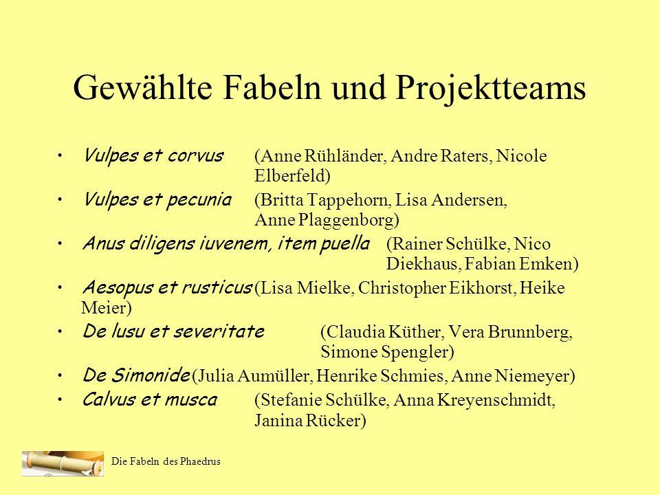 Gewählte Fabeln und Projektteams