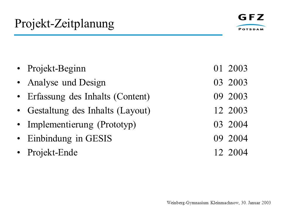 Projekt-Zeitplanung Projekt-Beginn 01 2003 Analyse und Design 03 2003