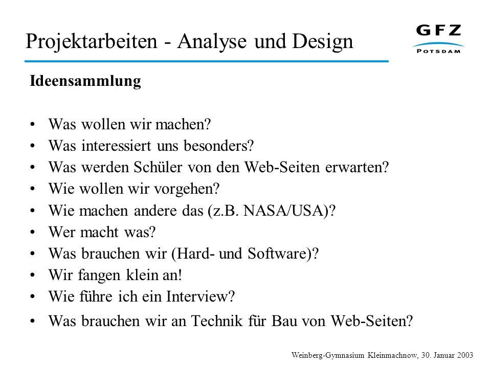 Projektarbeiten - Analyse und Design