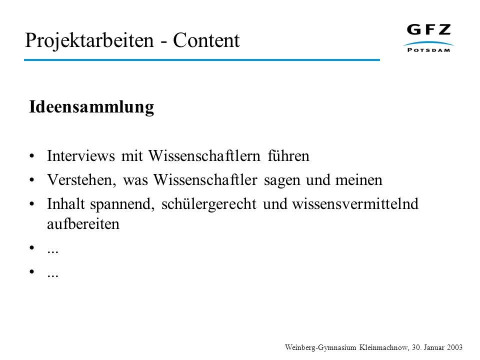 Projektarbeiten - Content