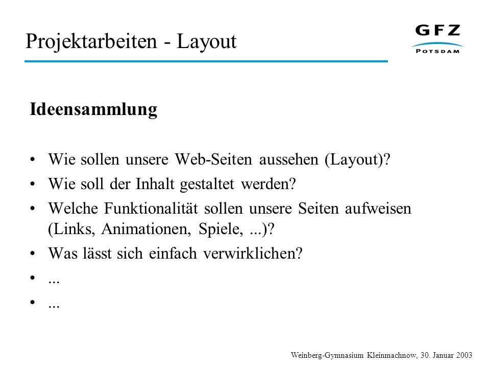 Projektarbeiten - Layout