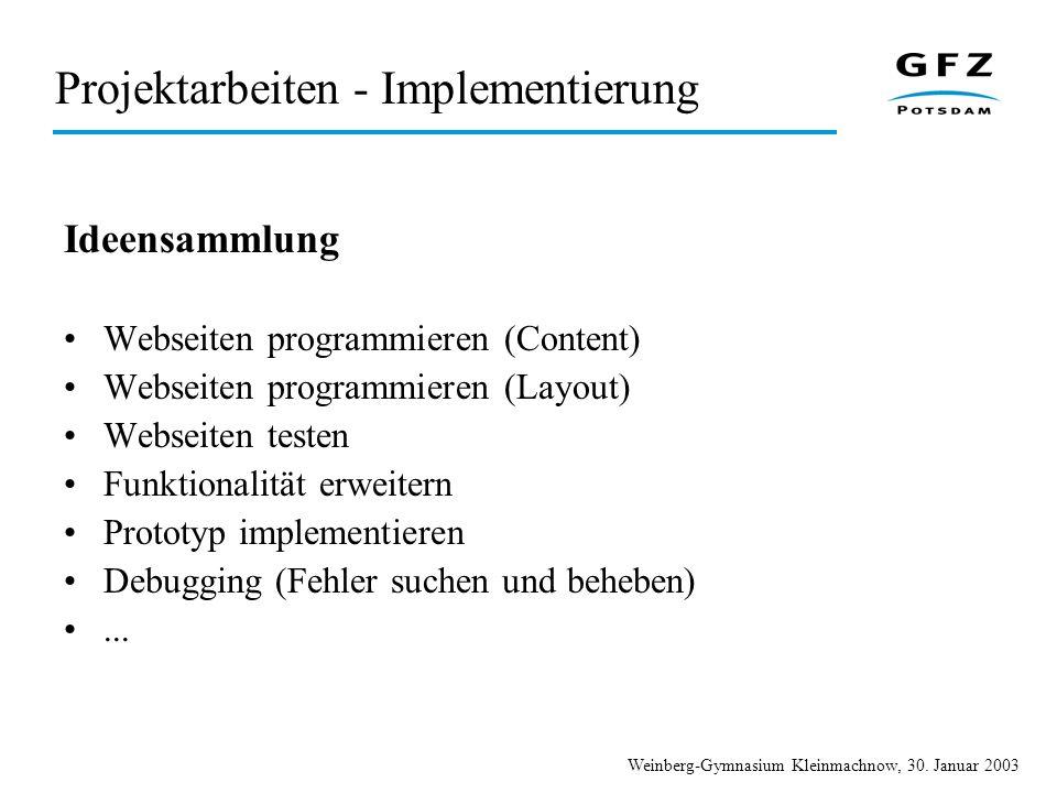 Projektarbeiten - Implementierung