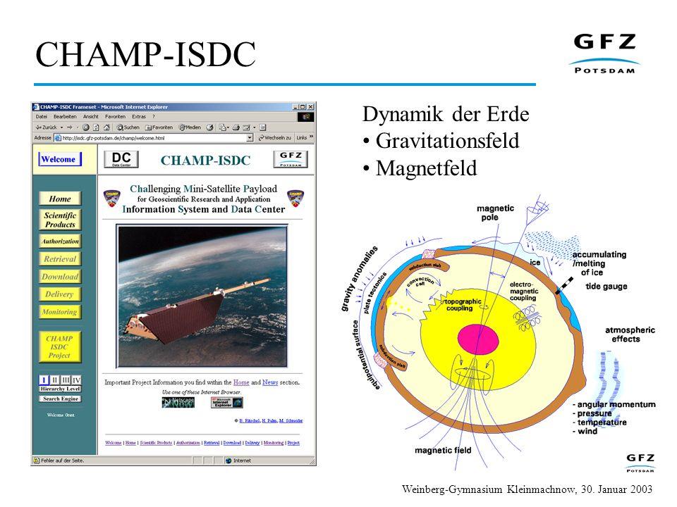 CHAMP-ISDC Dynamik der Erde Gravitationsfeld Magnetfeld