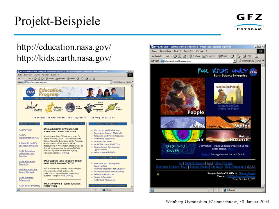 Projekt-Beispiele http://education.nasa.gov/