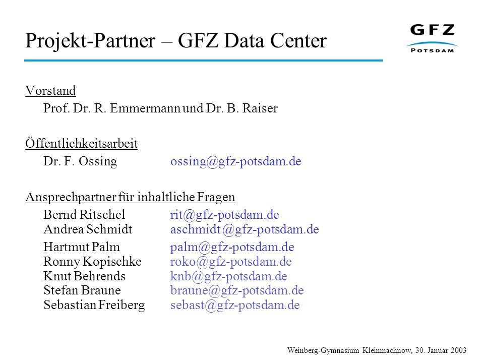 Projekt-Partner – GFZ Data Center