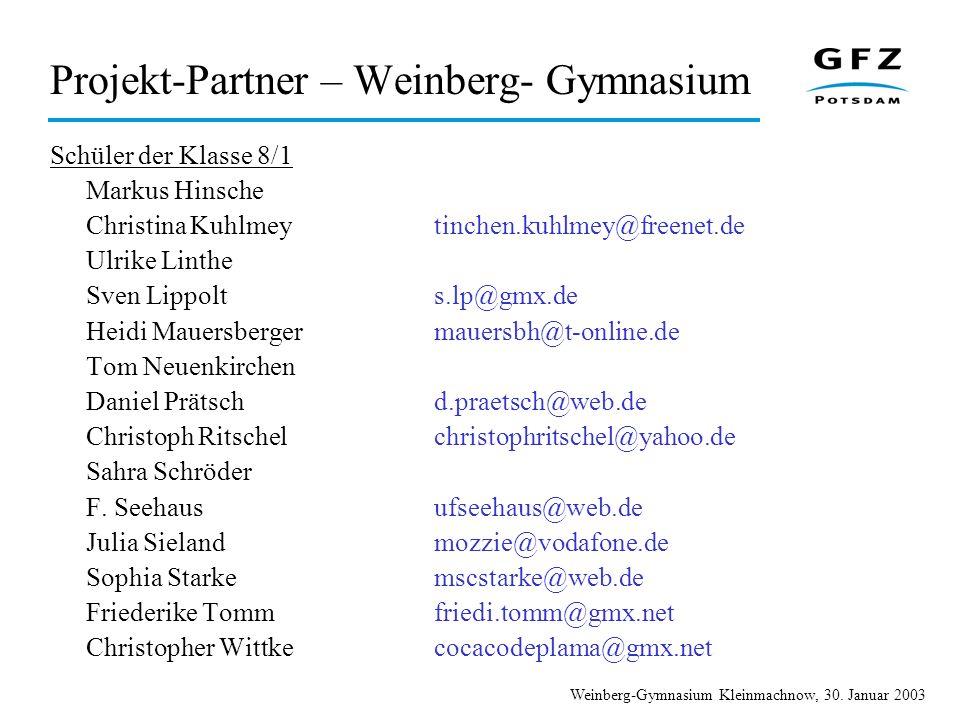Projekt-Partner – Weinberg- Gymnasium