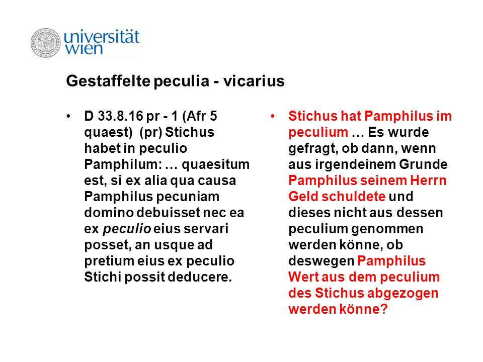 Gestaffelte peculia - vicarius