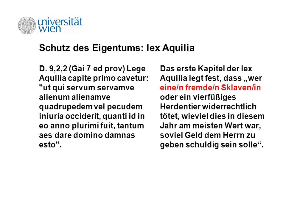 Schutz des Eigentums: lex Aquilia
